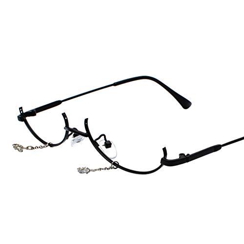 VRTUR Brillengestelle Damen Runde Rahmen Lens Brille Light Gewicht Klassische Brillenfassung Keine Linse Kette Anhänger Dekoration (One size,Schwarz)