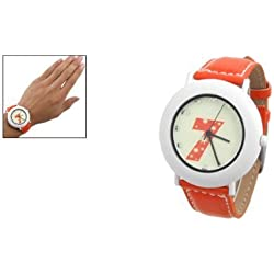 Ladies Quartz Dial Faux Leather Band Fluorescent Wrist Watch Orange