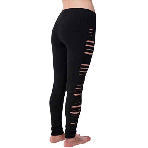 Heiß ! Laufende Hosen,Yanhoo Frauen heiße Hosen Hohe Taille Damen Mode Frauen Bleistift Hosen Leggings Hosen Yoga Sport Loch Freizeithosen (Schwarz, S) (Mode Bleistift)