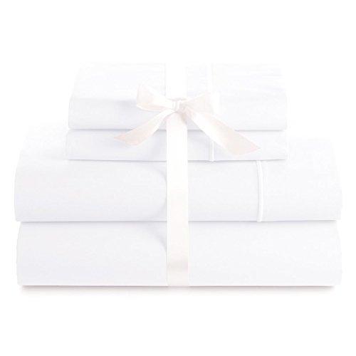 Bluemoon Haushalte Echtes Premium Ägyptische Baumwolle Fadenzahl 1000Italienisches Finish 4er Set Tabelle, 48,3cm Tief Tasche, Massiv California King Weiß -