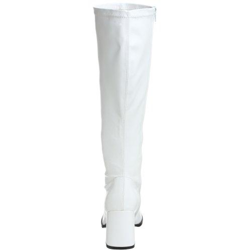 GOGO-300WC, Schlichter Stretch-Stiefel schwarz (weiter Schaft) Absatz 7,6 cm Wht Str Pu