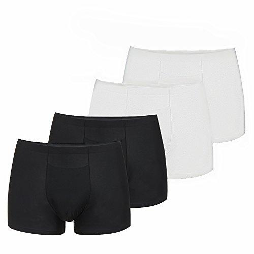 Herren Boxershorts SIHOHAN 4 Stück jeder Packung Unterhose für Männer weich bequem atmungsaktive Eisseide(Schwarz und Weiß,XL) (Bequeme Höschen)