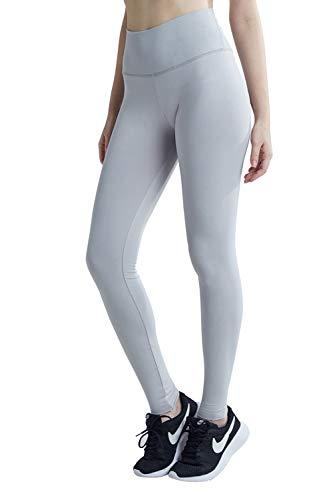 Wirezoll Sport Leggings Damen, High Waist Blickdichte Yogahose mit Tasche aus Baumwolle für Yoga, Gym, Laufen, Grau, XL -