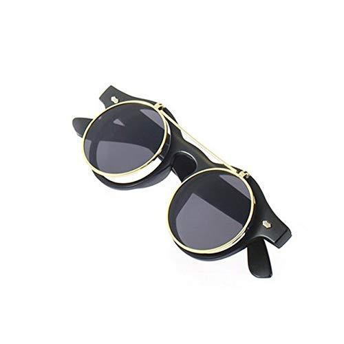 VCB Klassische Steampunk Goth Brille Runde Flip Up Sonnenbrille Runde Brille - Mattschwarz