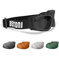 Gafas Mascara para Moto y Sport con 4 lentes Anti-Vaho intercambiables Incluidas by Bertoni Italy - AF120B negro mate.