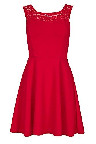 Laeticia Dreams Damen Kleid Mini mit Spitze und Schleife S M L Rot