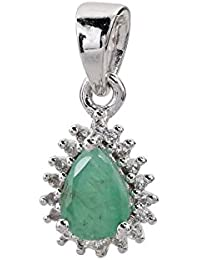 Harry Ivens Women's Necklace Pendant Rhodium Plated 925Sterling Silver Emerald Cross Pendant
