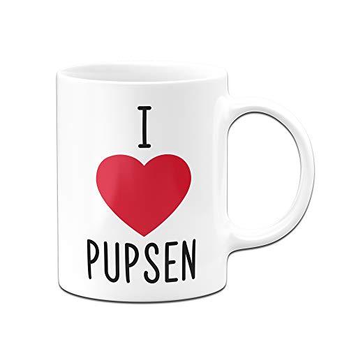 Tasse mit Spruch I Love Pupsen - Ich Liebe Pupsen, furzen - Bürotasse, Tassen mit Sprüchen lustig (Weiß)
