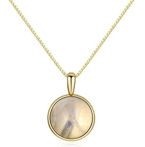 COAI Geschenkideen Damen 925s Halskette mit Medaillon Anhänger Rund Anhänger aus Mondstein