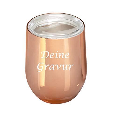 Schmalz Edelstahl Isolierbecher Reflects-Sudbury mit Gravur graviert personalisiert -Thermobecher-Coffee to go-Mobil genießen-Trinkbecher (rosé Gold)