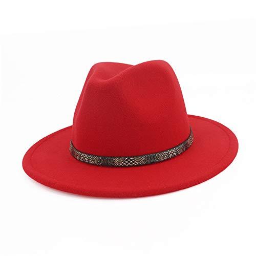 f4465e90028b Vim Tree001 Men & Women's Wide Brim Fedora Hat with Band Unisex Felt Panama  Cap Red