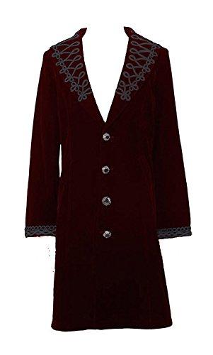 Devil Fashion Manteau Velours Rouge brodé avec col relevable Gothique Vampire Aristocrate - 2XL