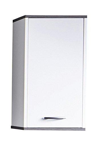 trendteam smart living Badezimmer Hängeschrank, Wandschrank California, 32 x 60 x 21 cm in Weiß, Absetzung Rauchsilber mit viel Stauraum und einem verstellbaren Einlegeboden