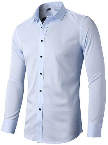 INFLATION Herren Hemd aus Bambusfaser umweltfreudlich Elastisch Slim Fit für Freizeit Business Hochzeit Reine Farbe Hemd Langarm,DE M (Etikette 41),Hellblau