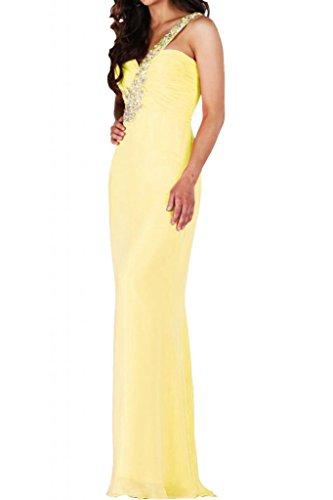 Toscana blu lncantevole ONE-Shoulder Chiffon stanotte un'ampia giovane a lungo per abiti da sposa Party ball vestimento Giallo
