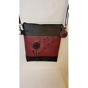 Handtasche Pusteblume weinrot Umhängetasche Dandelion Tasche mit Anhänger Kunstleder