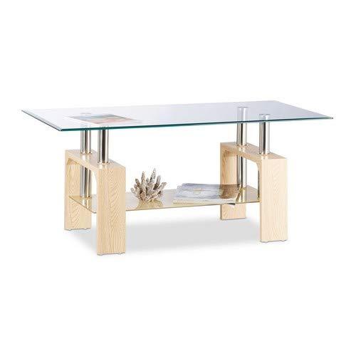 Relaxdays Couchtisch Glas, stylische MDF-Beine, gehärtete Tischplatte, modernes Design, 43x100x50cm, transparent/braun - Glas-modernen-sofa-tisch