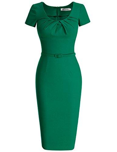 MUXXN Damen 1950's Retro Rundhals Kurzarm Abend Bleistift kleid Vintage Kleider Partikleid Business Kleid(XL, Green) Kleidung Von 1950