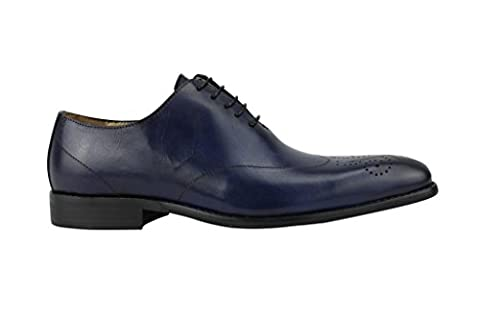 Mens Leather Lace up Blue Classic Oxford Smart Dress Shoes 6.5 7 8 9 10 11 11.5