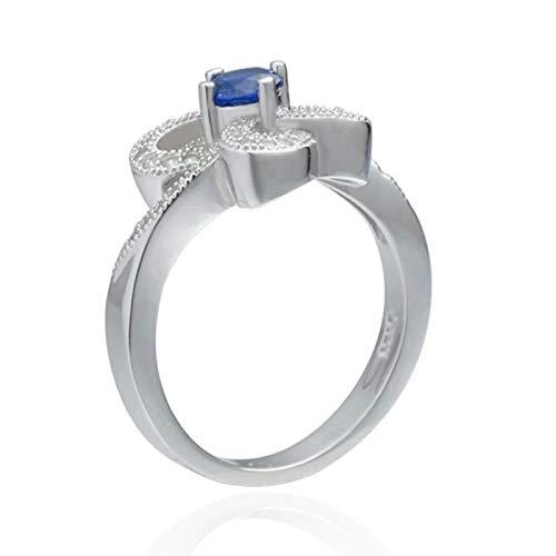 Beglie 925 Sterling Silber Damen Ring Verlobungsring Frauen Diamantring Blume Blau Zirkonia Verlobungsring Frauen Weiß Partnerringe Auf Rechnung Größe 50 (15.9)