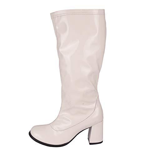 Kick Footwear Damen Knie Hoch Hoch Block Ferse Lange Stiefel - UK 3/EU 36, Weiß -