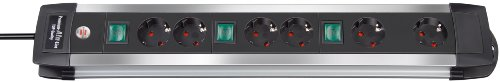 Brennenstuhl Premium-Alu-Line Technik, Steckdosenleiste 6-fach - Steckerleiste aus Aluminium (3x 2-fach schaltbare Steckdosen) Farbe: alu / schwarz -