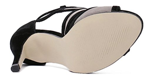 DADAWEN Chaussure Mode Escarpin Sandale sexy Talon Gris