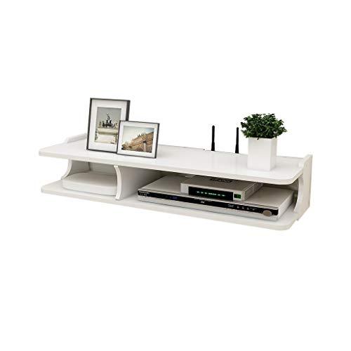 YANIQNG Medienkonsole für Wandmontage Floating TV Stand Component Regal, Audio/Video-Konsole für Wandmontage, multifunktionales Aufbewahrungsgestell, 2-stufig, weiß - 2 Regal-audio-stand