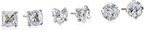 10k White Gold 3 Pairs Cubic Zirconia Stud Earrings Sets