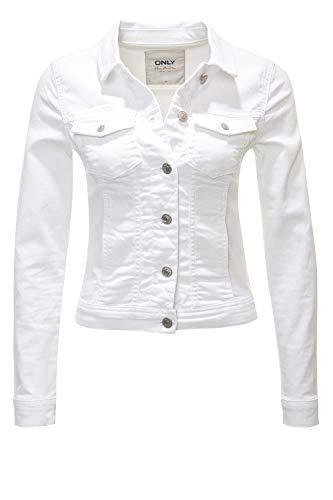 Weiße Damen Kurz (ONLY Damen Jeansjacke Übergangsjacke Leichte Jacke Denim Casual GE LESTA- Gr. M (38), White)