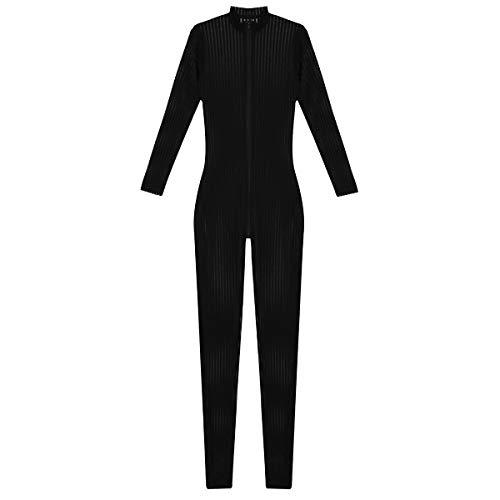 iEFiEL Damen Open Crotch Body Ganzkörperanzug Strumpfhose Overall Unterwäschen Dessous Catsuit Reizwäsche Ouvert Bodystocking Schwarz Weiß Schwarz One Size