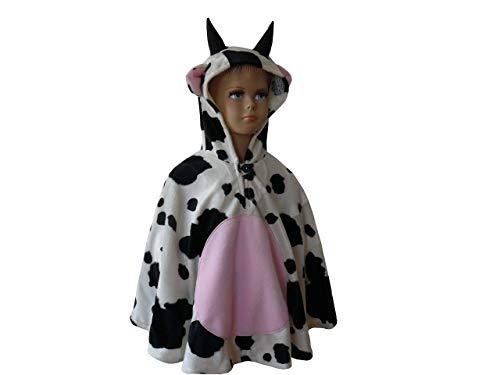 fasching karneval halloween kostüm cape für kleinkinder aus fellimitat kuh (Kleinkind Kuh Kostüm Halloween)