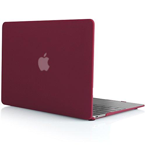 iDOO Custodia Rigida Rivestita in Gomma Satinata Opaca [Per MacBook 12 Retina: A1534] - Rosso (Rivestita Di Gomma Di Caso)