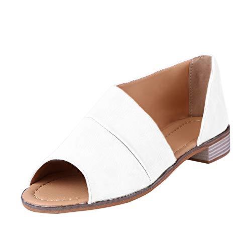 Sfit Damen Sandalen Sommer Roma Schuhe Schnalle Fischmaul Schuhe Flach Peep Toe Shoes Booties Stiefel - Weiße Baby-booties