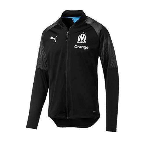 Puma Olympique de Marseille Veste De Survêtement Sponsor Logo with zip Homme, Puma Black-Bleu Azur, FR : M (Taille Fabricant : M)