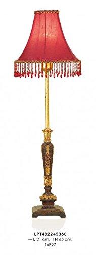 Casa Padrino Barock Tischleuchte Rot/Gold 21 x H 65 cm - Luxus Tisch Leuchte - Nostalgisch und...