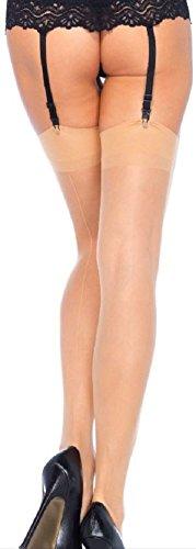 *Leg Avenue Damen Straps Strümpfe mit Naht hinten in nude transparent Einheitsgröße ca. 38 bis 40*