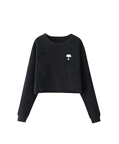 YouPue Damen Alien Druck Casual Cropped Pullover Crew Neck Sweatshirt Schwarz Asien S