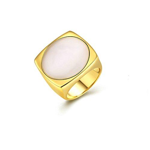 t Damen Gold Quadrat Ringe Weiß Opal Jahrestag Braut Vertrauensring Ring Gr.54 (17.2) (Quadrat Verlobungsring Weißes Gold)