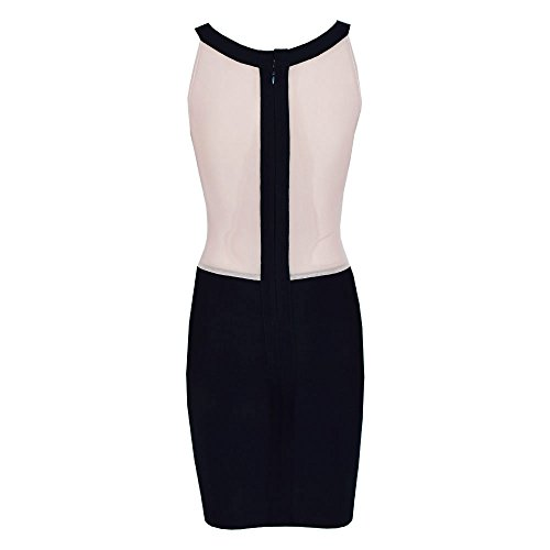 HLBandage Patchwork Mesh Sleeveless Haler Mini Bandage Dress Noir