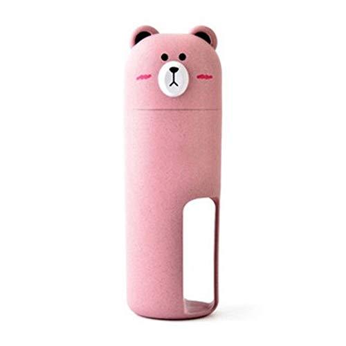 Haustier Wasserflasche Outdoor Reise Katze Hund Begleitende Tasse 2 in 1 Tragbare Dual Use Kettle Weizenfaser Hund Wasser Bowl Feeder,Pink -