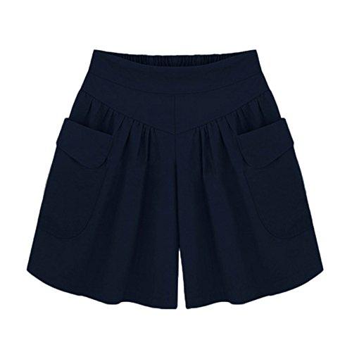 BURFLY Damen Übergrößen Shorts Frauen Plus Größe Solide Lose Hot Pants Taschen Lady Sommer Casual Shorts (4XL, Marine) (Workout Plus Womens Shorts)