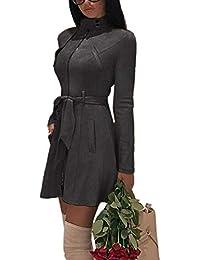 Trenchcoat Elegante De Gamuza Falsa De Cintura Alta Slim Abrigos Largos De Mujer