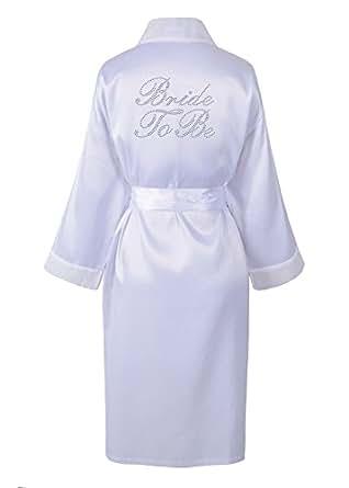 Varsany, vestaglia per matrimonio e viaggio di nozze, in satin, personalizzabile con scritta in strass White