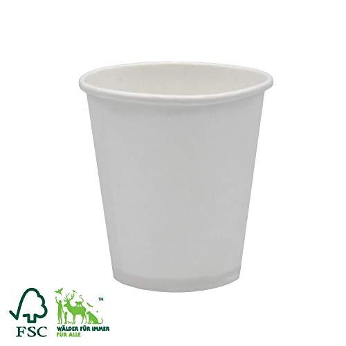 Pack&Cup Bio Kaffeebecher Pappbecher Coffee to Go Einwegbecher Plain White 150 ml (6 OZ) 2000 Stück