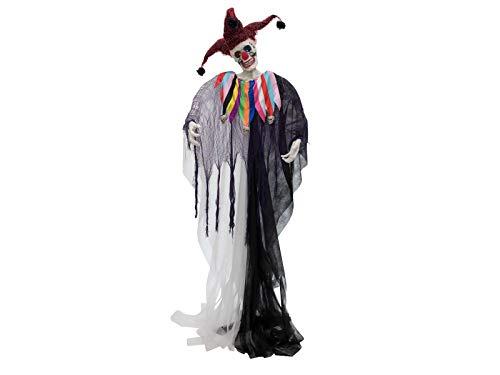 EUROPALMS Halloween Figur Harlekin | Totenkopf-Figur ALS Harlekin Verkleidet | Blinkende LED-Augen | Betrieb über DREI 1,5-V Batterien, Typ LR44 | Arme formbar | Höhe 210 cm