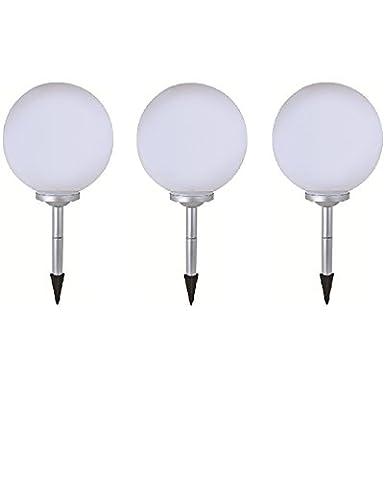 3 x LED Solar-Kugelleuchte Marla Solar-Kugellampe mit Erdspieß, Durchmesser 20cm, Dekoleuchte für Garten, Balkon