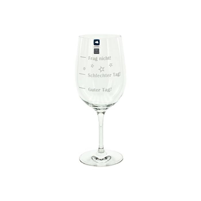 Leonardo Weinglas XL, Guter Tag!, Schlechter Tag!, Frag Nicht!, Geschenk Stimmungsglas mit lustiger Gravur, Mood Wein Glas, 610ml 1