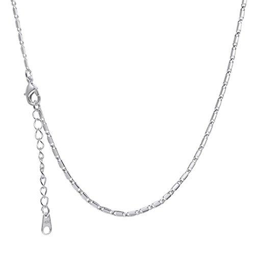Suplight Damen Halskette 3mm breit platiniert Gliederkette Link Chain Ersatz Kette für die meisten Anhänger 55cm lang, silber - Lange Kabel Pullover