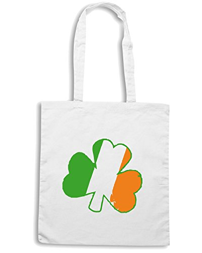 T-Shirtshock - Borsa Shopping TIR0218 vintage irish shamrock dark tshirt Bianco